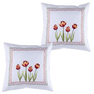 Zestaw 2 sztuk poszewek na poduszki z haftem TULIPANY