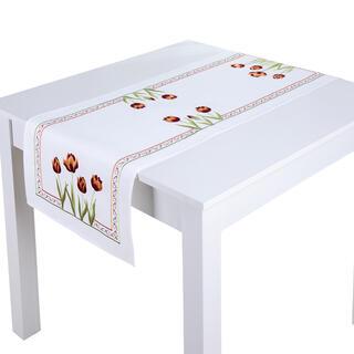 Bieżnik na stół z haftem TULIPANY 40 x 110 cm
