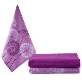 Bawełniane ścierki do naczyń MLECZE liliowe 3 szt. 50 x 70 cm