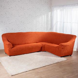 Bi-elastyczne pokrowce MEDITERRANEO ceglaste kanapa narożnikowa (sz. 350 - 530 cm)