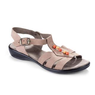 Damskie skórzane sandały z koralikami