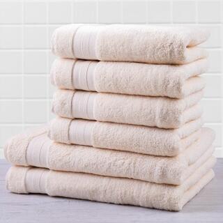 Zestaw ręczników frotte i ręczników kąpielowych MEXICO kremowy 6 szt.