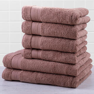 Zestaw ręczników frotte i ręczników kąpielowych MEXICO brązowy 6 szt.