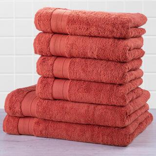 Zestaw ręczników frotte i ręczników kąpielowych MEXICO ceglasty 6 szt.