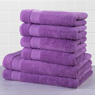 Zestaw ręczników frotte i ręczników kąpielowych MEXICO fioletowy 6 szt.