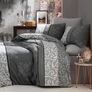 Pościel bawełniana NATURA szara, łóżko francuskie