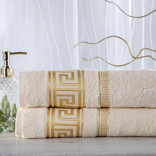 Zestaw 2 ręczników bambusowych ROMA kremowy 50 x 100 cm