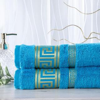 Zestaw 2 ręczników bambusowych ROMA turkusowy 50 x 100 cm