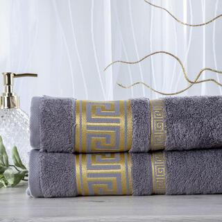 Zestaw 2 ręczników bambusowych ROMA ciemnoszary 50 x 100 cm