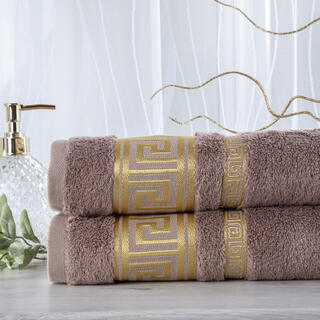 Zestaw 2 ręczników bambusowych ROMA jasny brąz 50 x 100 cm