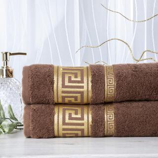 Zestaw 2 ręczników bambusowych ROMA ciemny brąz 50 x 100 cm
