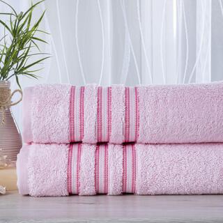 Zestaw 2 ręczników frotte FIRUZE różowe 50 x 100 cm