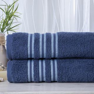 Zestaw 2 ręczników frotte FIRUZE granatowe 50 x 100 cm