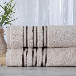 Zestaw 2 ręczników frotte FIRUZE kremowe 50 x 100 cm