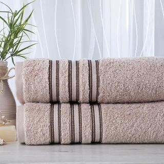 Zestaw 2 ręczników frotte FIRUZE beżowe 50 x 100 cm