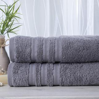 Zestaw 2 ręczników frotte FIRUZE ciemnoszare 50 x 100 cm