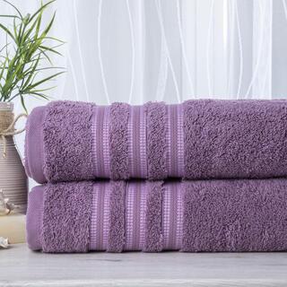 Zestaw 2 ręczników frotte FIRUZE ciemny fiolet 50 x 100 cm