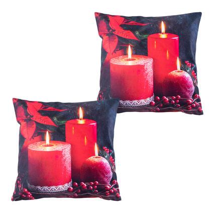 Zestaw 2 sztuk świątecznych poszewek na poduszki CZERWONE ŚWIECZKI