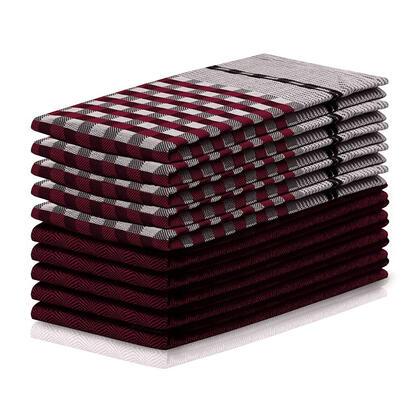 Bawełniane ścierki kuchenne LOUIE bordowe 50 x 70 cm 10 szt.