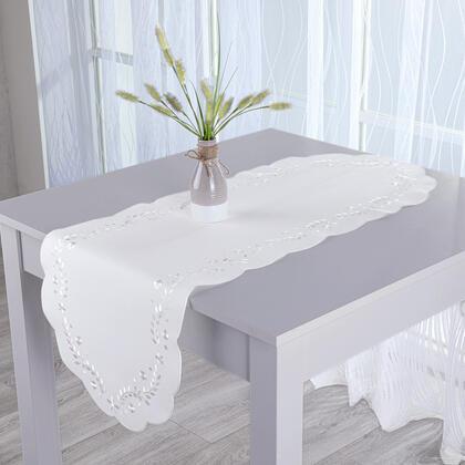 Bieżnik na stół z haftem biały 40 x 110 cm