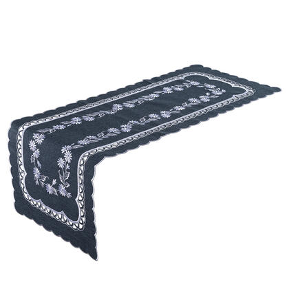 Bieżnik na stół z haftem antracytowy 40 x 110 cm