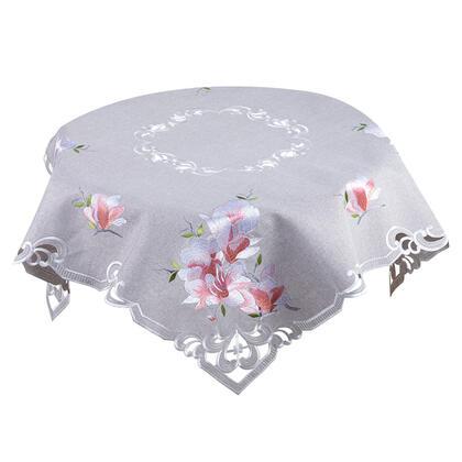 Obrus nakładka z różowym haftem MAGNOLIA 85 x 85 cm