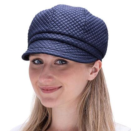 Damska czapka z daszkiem pikowana granatowa
