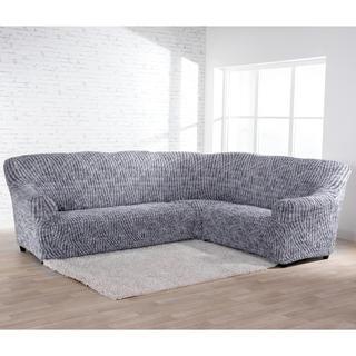 Bi-elastyczne pokrowce ROCCIA szare, kanapa narożnikowa (sz. 350 - 530 cm)