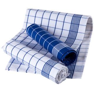 Ścierki kuchenne z egipskiej bawełny, niebieski karo