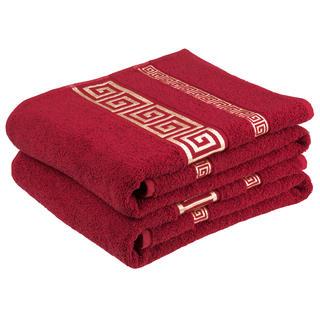 Bawełniane ręczniki frotte Ateny, bordowe