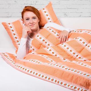 Zestaw letniej kołdry 140 x 200 cm i poduszki 40 x 60 cm BARUNKA pomarańczowa