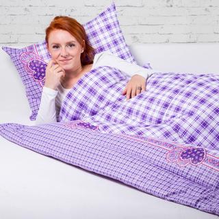 Zestaw letniej kołdry 140 x 200 cm i poduszki 40 x 60 cm VALERIE fioletowa