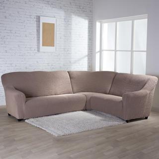 Bi-elastyczne pokrowce BUKLÉ orzeszkowy, kanapa narożnikowa (sz. 350 - 530 cm)