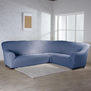 Bi-elastyczne pokrowce BUKLÉ denimowy kanapa narożnikowa (sz. 350 - 530 cm)