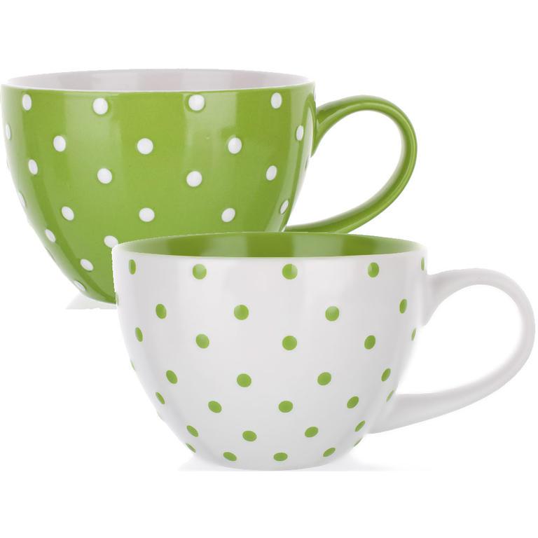 Garnki ceramiczne zielone kropki