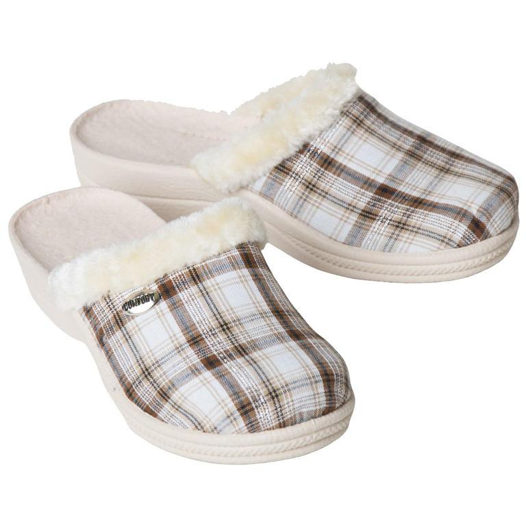 Damskie pantofle domowe z futerkiem, krata rozmiar 39