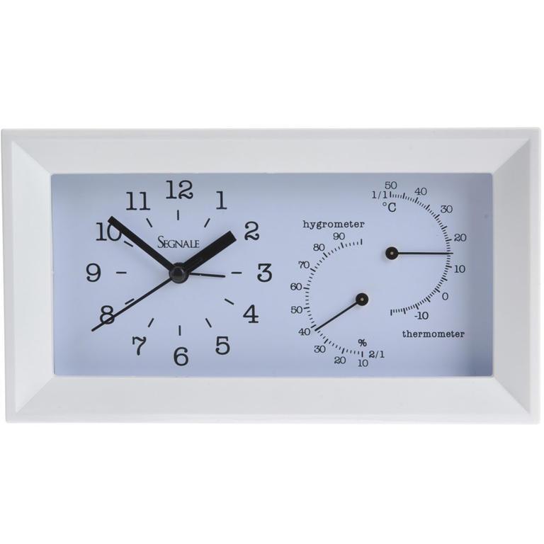 Zegar stołowy z higrometrem i termometrem biały