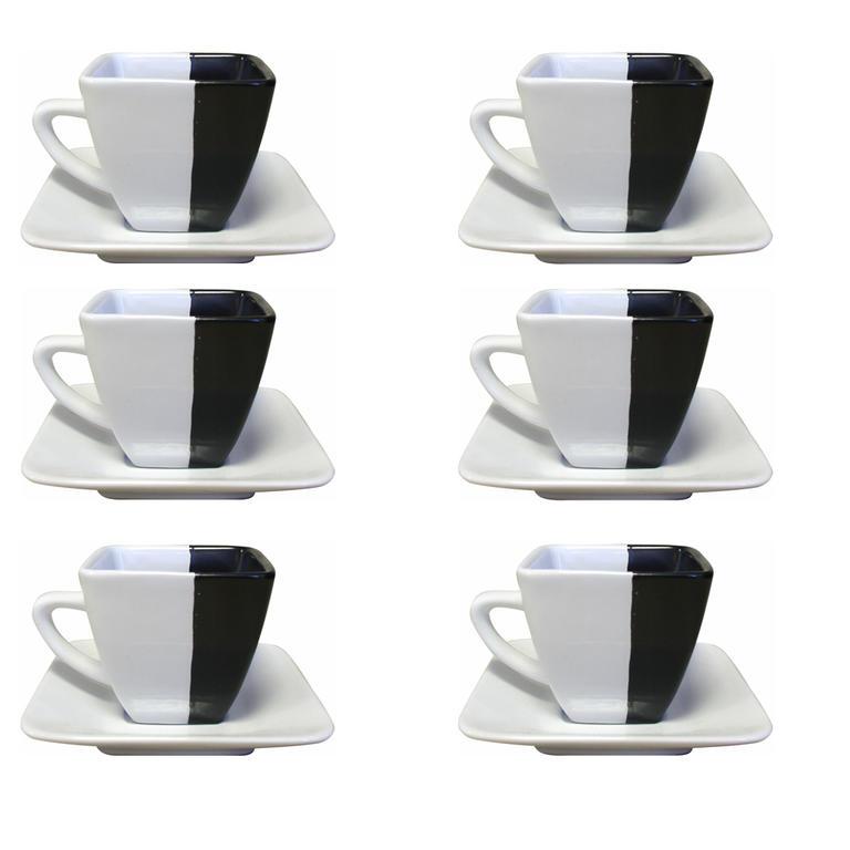 Ceramiczna filiżanka z talerzykiem zestaw 6 sztuk  - 1