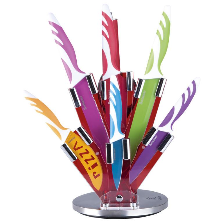 Zestaw noży ceramicznych w bloku, kolorowe 8 sztuk
