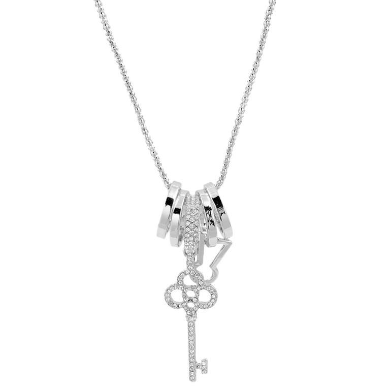 Naszyjnik z zawieszką w kształcie klucza srebrny
