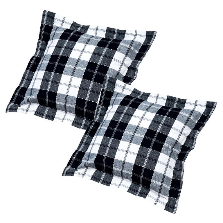 Poszewki bawełniane na poduszkę kostka czarno-biała 2 szt.
