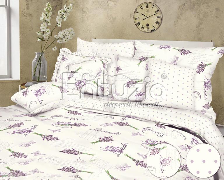Pościel bawełniana Lavender biała 2 szt. 2x długość przedłużona