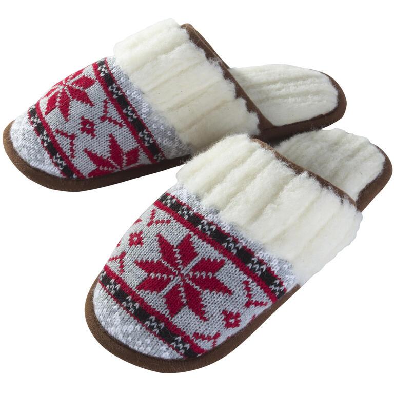 Pantofle damskie z wełny owczej czerwone rozmiar 37